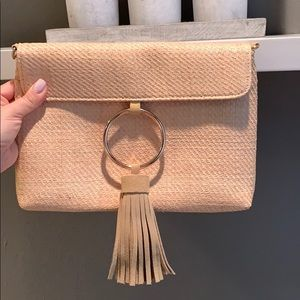 Woven Straw Boho Suede Tassle Clutch Bag